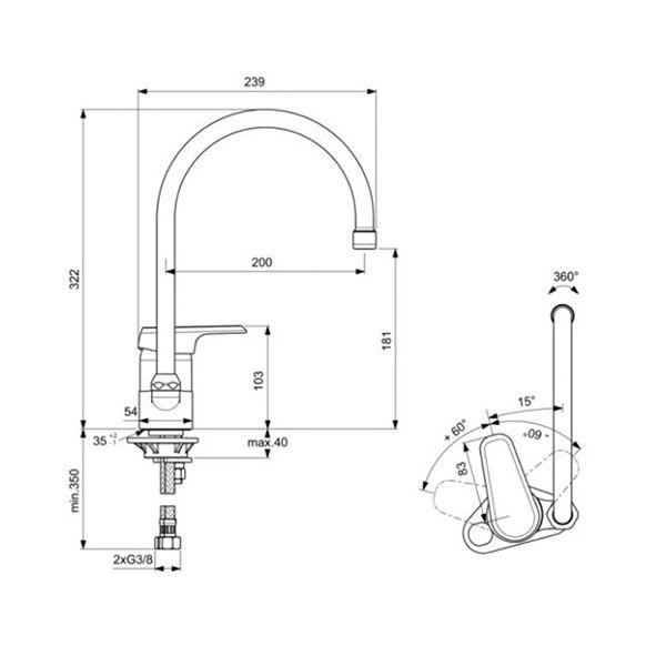Miscelatore lavello cucina Ideal Standard Ceraplan III - B0893AA